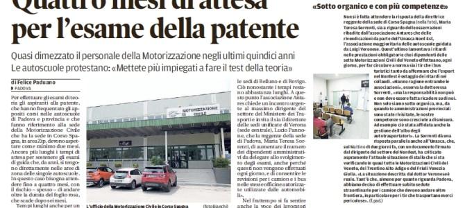 """Quattro mesi di attesa per l'esame della patente – da """"il Mattino di Padova"""""""